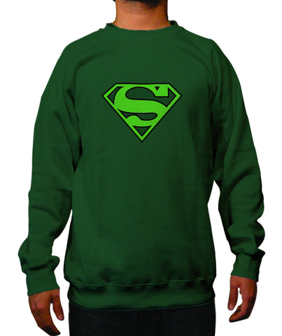 Superman Green Logo on Dark Green Crewneck for Men