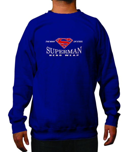 Superman Man of Steel Herowear Logo on Navy Crewneck - TshirtNow.net - 1