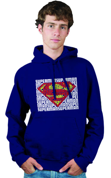 Superman Word Art Logo On Navy Hoodie for Men - TshirtNow.net - 1