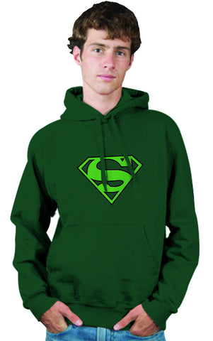 Superman Green Logo on Dark Green Colored Hoodie for Men