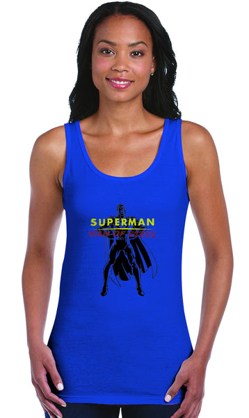 Superman Man Of Steel Standing Figure Logo on Blue Fitted Sheer Tank Top for Women - TshirtNow.net - 1