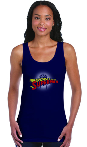Superman Standing Figure Logo on Navy Fitted Tank top for Women