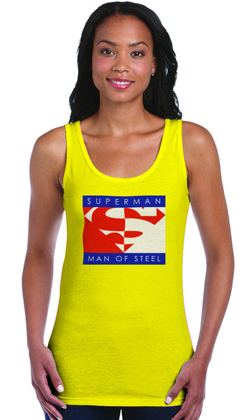 Superman Block Logo on Yellow Fitted Sheer Tank Top for Women - TshirtNow.net - 1