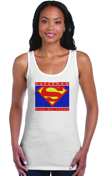 Superman Man Of Steel Standing Figure Logo on White Fitted Sheer Tank Top for Women - TshirtNow.net - 1