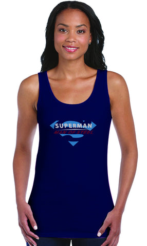 Superman Man Of Steel Logo on Blue Tank Top for Women