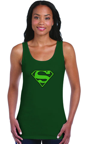 Superman Green Logo on Dark Green Fitted Sheer Tank top for Women