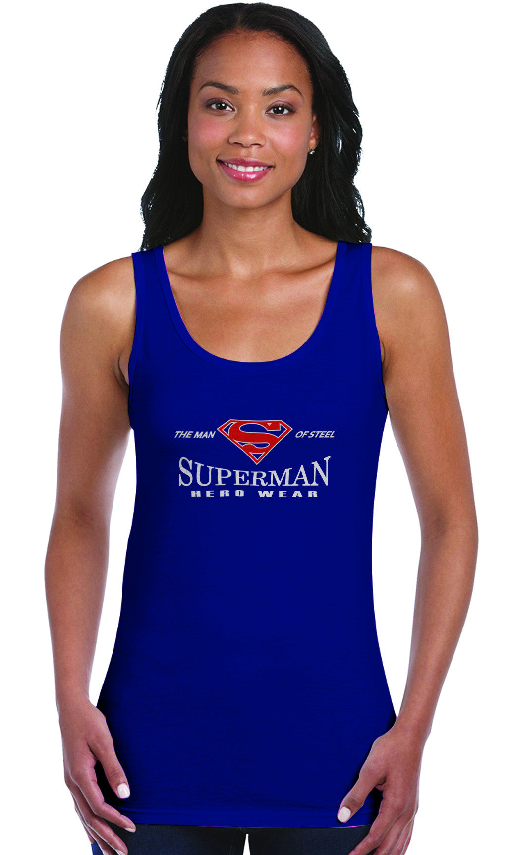 5bbed5cb75fe6 Superman Man of Steel Hero Wear Logo on Navy Fitted Tank top for Women -  TshirtNow