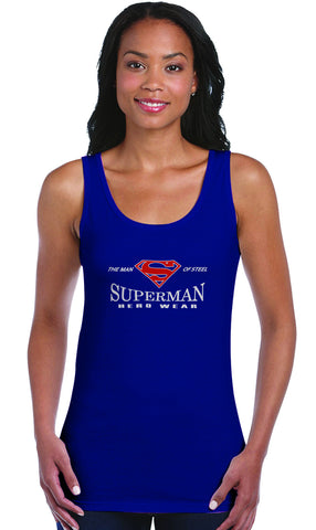 Superman Man of Steel Hero Wear Logo on Navy Fitted Tank top for Women
