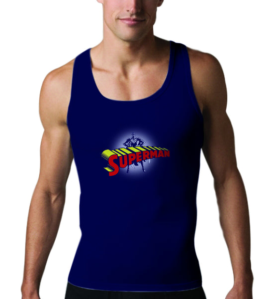 Superman Standing Figure Logo on Navy Tank top - TshirtNow.net - 1