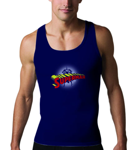 Superman Standing Figure Logo on Navy Tank top