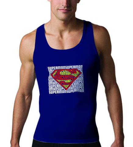 Superman Word Art Logo On Navy Tank Top for Men