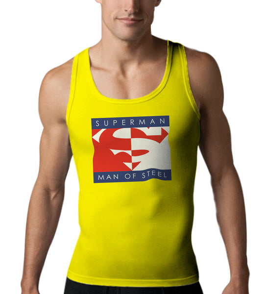 Superman Man Of Steel Block Logo on Yellow Tank top for Men - TshirtNow.net - 1