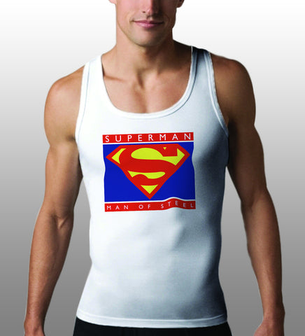 Superman Man of Steel Logo on White Colored Tank Top For Men