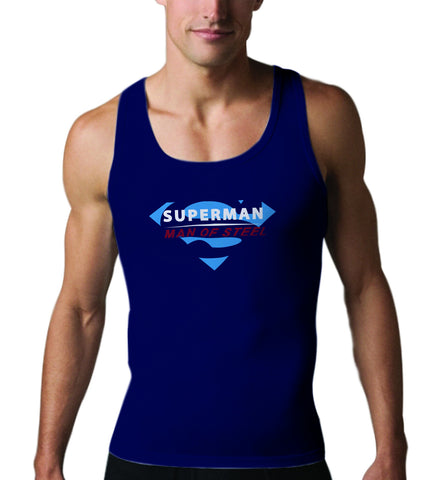 Superman Man of Steel Logo on Navy Colored Tank top for Men