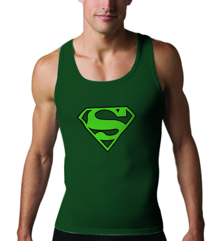 Superman Green Logo on Dark Green Tank top for Men