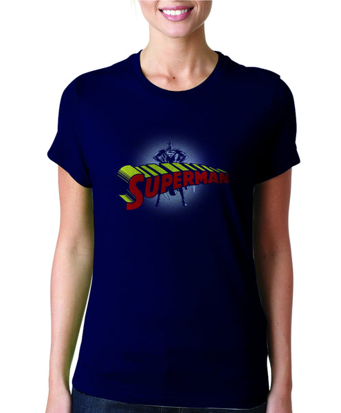 Superman Logo on Dark Navy Colored Tshirt for Women - TshirtNow.net - 1