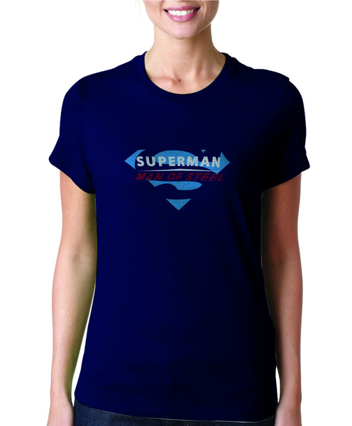 Superman Man of Steel  Logo on Navy Colored Sheer Tshirt for Women - TshirtNow.net - 1