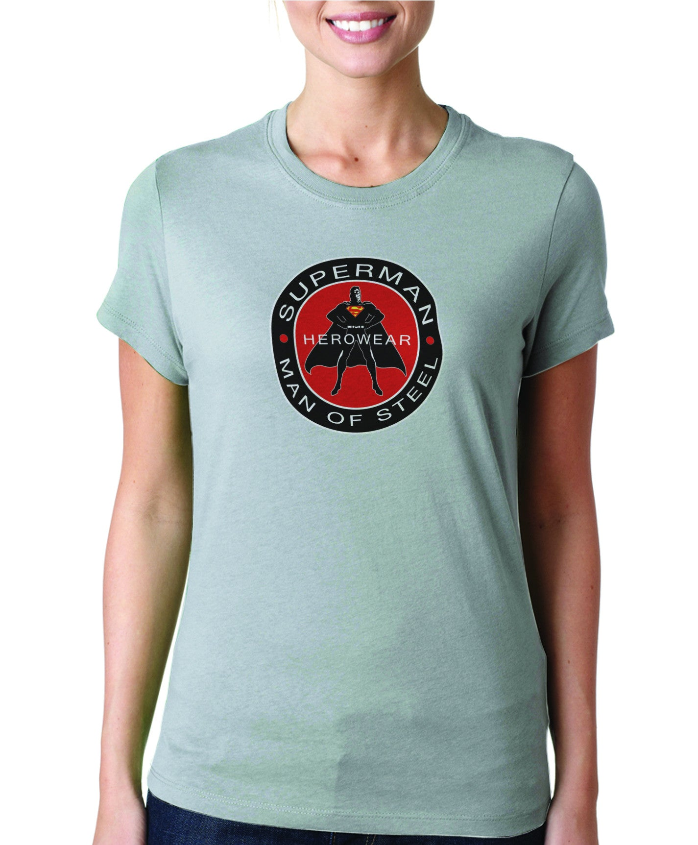 Superman Herowear Round Logo on Ash Gray Fitted Tshirt for Women -  TshirtNow.net - ef037bd9d