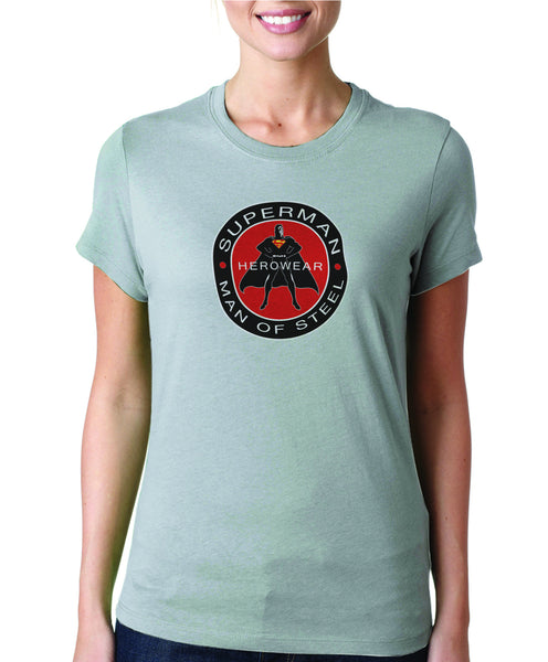 Superman Herowear Round Logo on Ash Gray Fitted Tshirt for Women - TshirtNow.net - 1