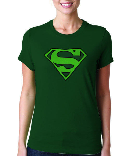 Superman Green Logo on Dark Green Colored Fitted tshirt for Women - TshirtNow.net - 1