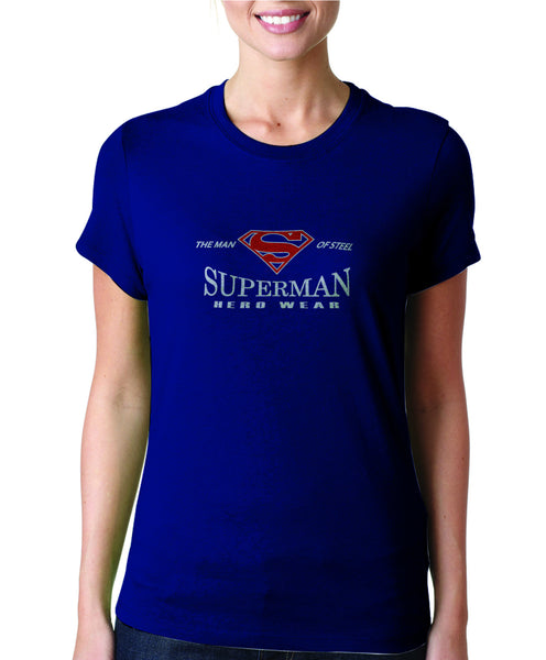 Superman Man Of Steel Hero Wear Logo on Navy Fitted Tshirt for Women - TshirtNow.net - 1