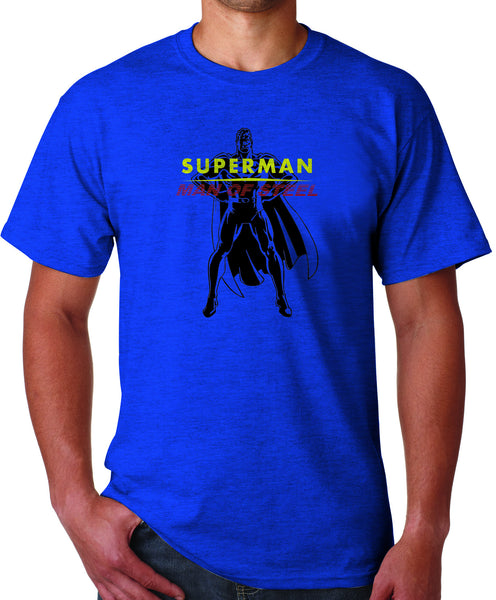 Superman Man Of Steel Standing Figure Logo on Blue Tshirt for Men - TshirtNow.net - 1