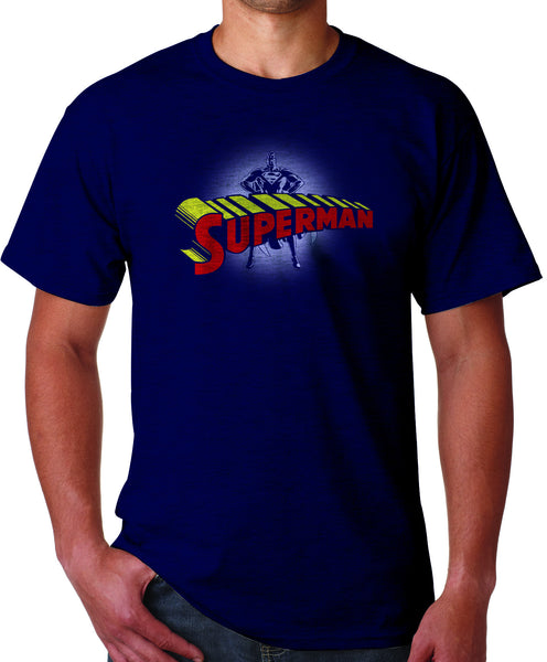 Superman Standing Figure Logo on Navy Tshirt for Men - TshirtNow.net - 1