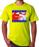 Superman Man of Steel Logo on Yellow Colored Tshirt for Mens - TshirtNow.net - 1