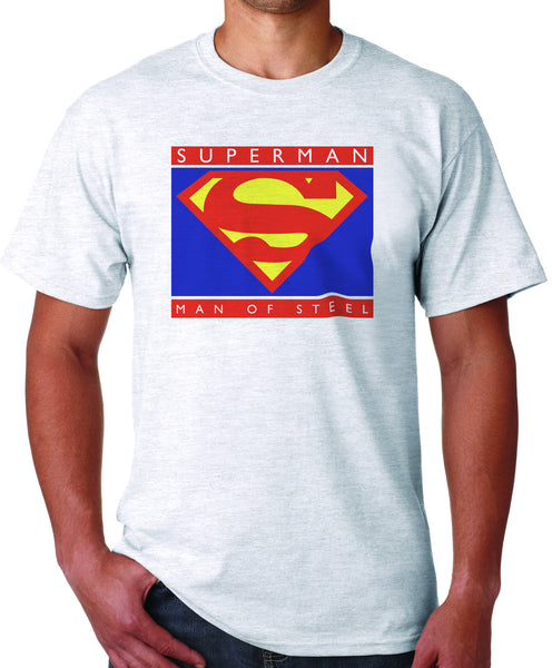 Superman Man Of Steel Standing Figure Logo on White Colored Tshirt for Men - TshirtNow.net - 1