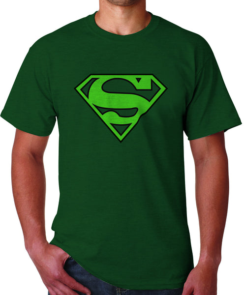 Superman Green Logo on Dark Green tshirt for Men - TshirtNow.net - 1