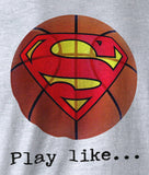 Superman 'Play like' Basketball Logo on Ash Grey Colored Pocket Tshirt - TshirtNow.net - 3