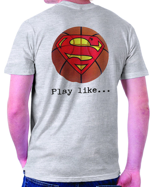 Superman 'Play like' Basketball Logo on Ash Grey Colored Pocket Tshirt - TshirtNow.net - 1