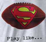 "Superman ""Play Like"" Football Logo on Ash Grey Colored Pocket Tshirt - TshirtNow.net - 2"