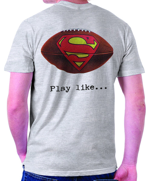 "Superman ""Play Like"" Football Logo on Ash Grey Colored Pocket Tshirt - TshirtNow.net - 1"