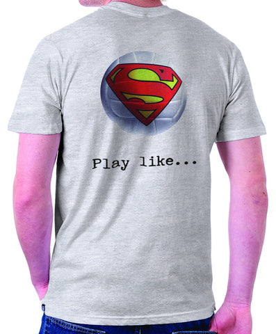 Superman 'Play like' : Volleyball Logo on Ash Grey Colored Pocket Tshirt