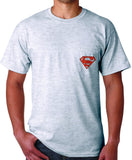 Superman 'Play like' Basketball Logo on Ash Grey Colored Pocket Tshirt - TshirtNow.net - 2