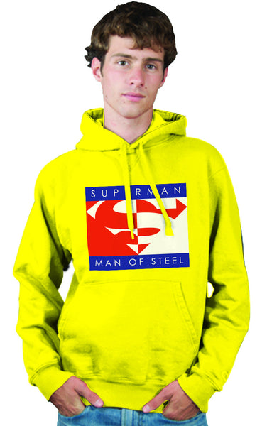 "Superman ""Man of Steel"" Logo on Yellow Mens Hoodie - TshirtNow.net - 1"