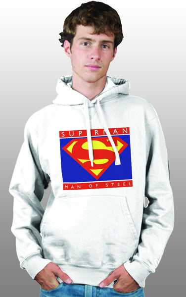 Superman Man Of Steel Standing Figure Logo on White Hoodie for Men - TshirtNow.net - 1