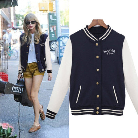 Women's College Style Taylor Swift Varsity Baseball Jacket