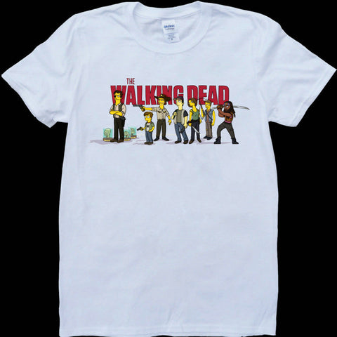The Walking Dead Cast as Simpsons Characters Walking Dead Logo Tshirt