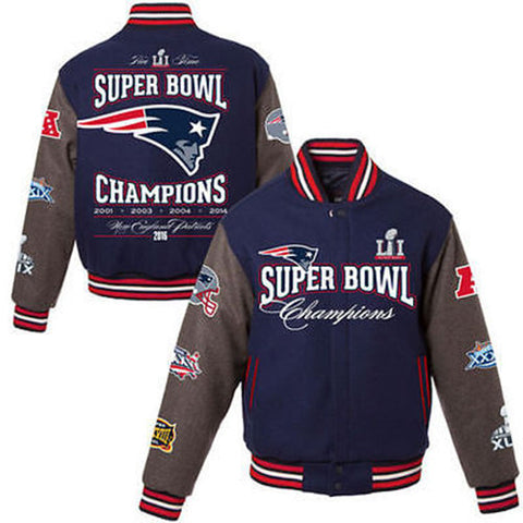 New England Patriots 5-Time Super Bowl Champions Wool Varsity Jacket