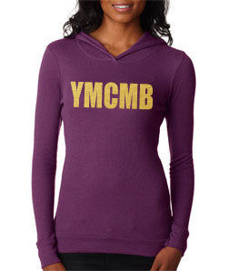 Womens Ymcmb Soft Thermal Hoodie With Gold Print
