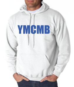 Ymcmb Hoodie: White With Blue Print