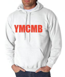 Ymcmb Hoodie: White With Red Print