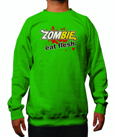 Subway: Eat Fresh Logo Parody Spoof Crewneck Sweatshirt: Zombie: Eat Flesh Logo on Green Colored Crewneck Sweatshirt