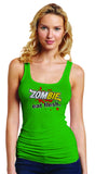 Subway: Eat Fresh Logo Parody Spoof t-shirt: Zombie: Eat Flesh Logo on Green Colored Womens Fitted Sheer Ribbed Tank Top Ladies Tshirt for Girls - TshirtNow.net - 3