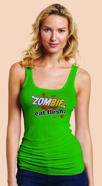 Subway: Eat Fresh Logo Parody Spoof t-shirt: Zombie: Eat Flesh Logo on Green Colored Womens Fitted Sheer Ribbed Tank Top Ladies Tshirt for Girls - TshirtNow.net - 1
