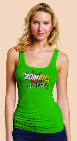 Subway: Eat Fresh Logo Parody Spoof t-shirt: Zombie: Eat Flesh Logo on Green Colored Womens Fitted Sheer Ribbed Tank Top Ladies Tshirt for Girls