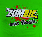 Subway: Eat Fresh Logo Parody Spoof Tshirt: Zombie: Eat Flesh Logo on Green Colored Tshirt - TshirtNow.net - 2