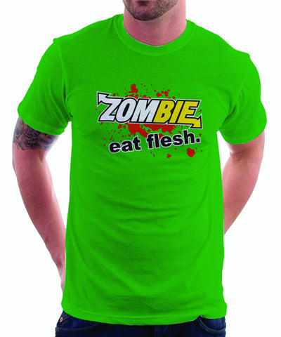Subway: Eat Fresh Logo Parody Spoof Tshirt: Zombie: Eat Flesh Logo on Green Colored Tshirt